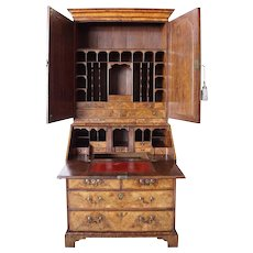 English Queen Anne Burl Walnut and Oak Secretary Bookcase