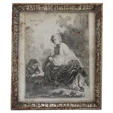 FERDINAND BOL Etching on Paper, Die Nagelschneiderin after Rembrandt
