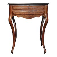 German Baroque Style Burled Walnut Veneer Sewing Table / Side Table