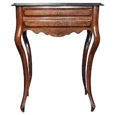 German Baroque Style Burled Walnut Veneer Sewing Table / Side Table