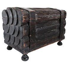 German Black Forest Iron Mounted Pine Faux Bois Trunk