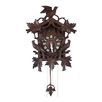 German Herr Black Forest Carved Pine Cuckoo Wall Clock