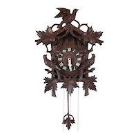 German Herr Black Forest Carved Pine Cuckoo Wall Clock