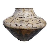 Very Large Peruvian Shipibo Polychrome Geometric Ceramic Pot (Chomo)
