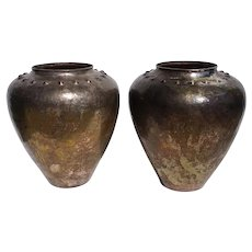 Pair of Vintage Hand Hammered Patinated Copper Silverplate Vases