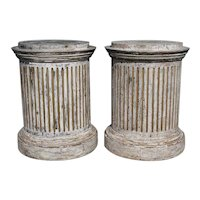 Pair of Painted and Gilt Pine Round Fluted Column Pedestals