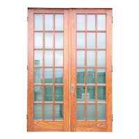 American Craftsman Beveled Glass and Oak Veneer Double French Door