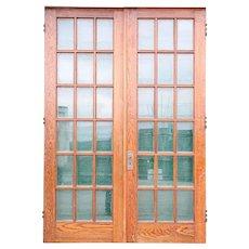 American Craftsman Beveled Glass and Oak Veneer Double French Door