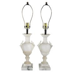Pair of Vintage Italian White Alabaster Calla Lily Urn One-Light Table Lamps