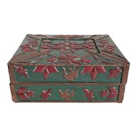 American New England Folk Art Green and Red Painted and Carved Document Box