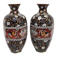 Pair of Japanese Meiji Cloisonne Enamel Hexagonal Baluster Vases