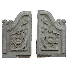 Pair of Chinese Qing Carved Green Stone Building Architectural Facade Carvings