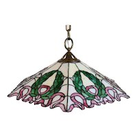 American Albert Sechrist Leaded Glass Ribbon and Wreath One-Light Pendant Light