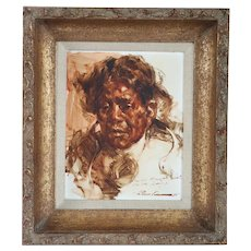 RAMON KELLEY Oil on Panel Painting, Portrait of a Native American Man