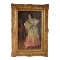 GALINDEZ Oil Painting on Canvas, Portrait of a Spanish Lady
