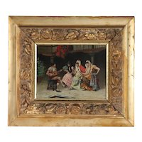 ENRICO TARENGHI Oil on Panel Painting, Musician Serenading Three Ladies