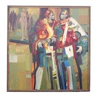 Vintage JERRY L. MCKEEHAN Oil on Panel Painting, Ambassadors