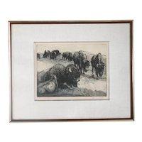 WOLFGANG POGZEBA Etching on Paper, Prairie Monarch, 85/150