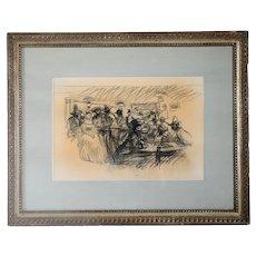 Vintage BEN STAHL Charcoal Drawing on Paper, Tavern Scene