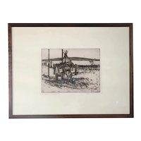 WOLFGANG POGZEBA Etching on Paper, Encampment & Horses, 28/75