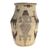Unusually Large Native American Pima/Papago Lizards and Animal Coiled Basket 23.5 inches