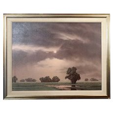 CLIFFORD T. BAILEY Oil on Canvas Painting, Rural Landscape and Pink Skies