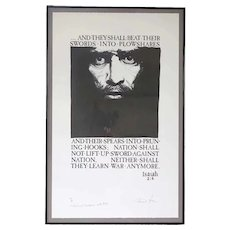 FRANK V. SZASZ Lithograph Print, Swords into Plowshares Anti War Poster