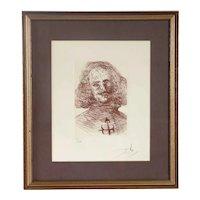 SALVADOR DALI Sepia Etching on Paper, Velazquez 2/20