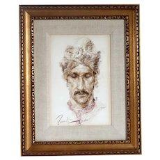 RAMON KELLEY Pastel Drawing on Paper, El Turbano