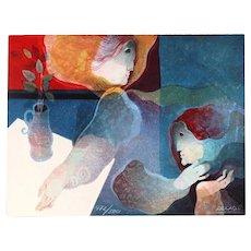ALVAR SUNOL Modernist Lithograph on Embossed Paper,  472/500