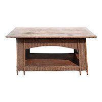 American Mission/Arts and Crafts Natural Wicker and Oak Veneer Top Library Table