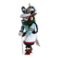 Native American Hopi Painted Wood and Mixed Media Pong / Ram Kachina Doll
