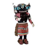 Native American Hopi Painted Wood and Mixed Media Hu Whipper Kachina Doll