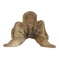 Vintage Inuit Fossilized Whale Bone Figural Carved Sculpture
