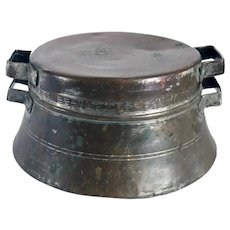 Turkish Patinated Copper Two-Handle Cooking Pot and Lid