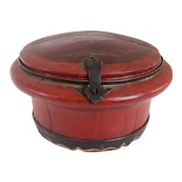 Chinese Qing Iron Mounted Red Wooden Round Box