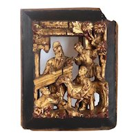 Small Chinese Gilt and Lacquered Wooden Openwork Figural Panel