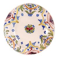 Spanish Faience Polychrome Floral Plate