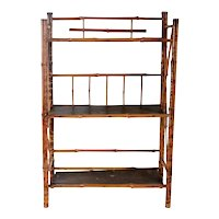 Small English Aesthetic Movement Bamboo and Pine Open Shelf / Etagere