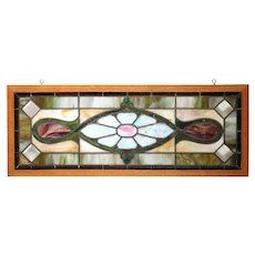 American Stained, Beveled and Leaded Glass Oak Frame Window Transom