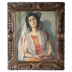 HERM. RICHTER Oil on Canvas Painting, Portrait of a Spanish Lady