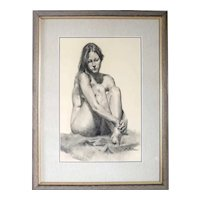 MITCH CASTER Charcoal and Pastel Drawing on Paper, Nude Montana