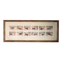 Set of 12 Vintage Spanish Chromolithographs, Spanish Bullfighting Scenes