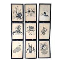 Set of Nine ALASTAIR Black and Sepia Paper Manon Lescaut Bookplate Illustrations