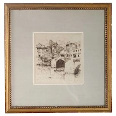 LESTER E. VARIAN Etching on Paper, Ponte Vecchio over the Arno, Florence