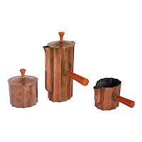 Three-Piece American Walter Von Nessen Chase Copper & Catalin Diplomat Coffee Set