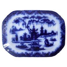 Rare English Mellor, Venables & Co. Flow Blue Ironstone Whampoa Pattern Platter