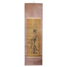 Japanese Meiji Watercolor Vertical Hanging Scroll (Kakejiku) Painting, Elder and Crane