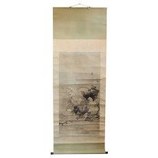 Japanese Meiji Watercolor Hanging Vertical Scroll (Kakejiku) Painting, Samurai Portrait