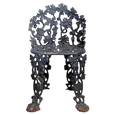 American Atlanta Stove Works Black Painted Cast Iron Grapevine Garden Side Chair
